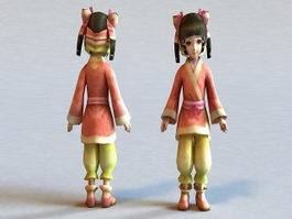 Traditional Chinese Toddler Girl 3d model preview