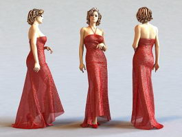 Beautiful Red Dress Lady 3d preview