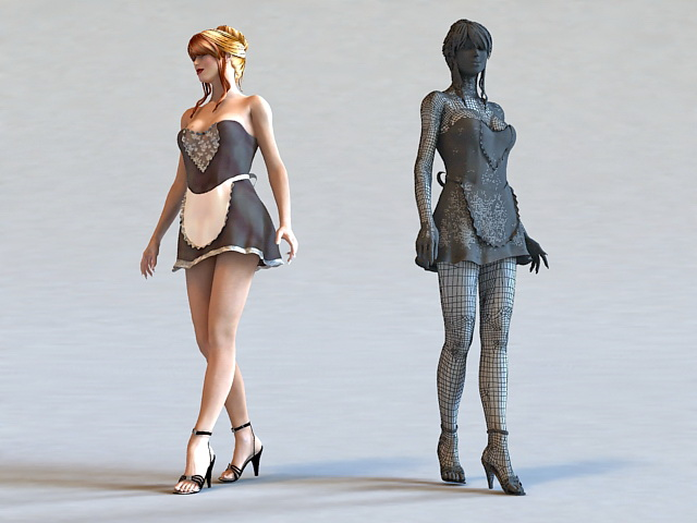 Sexy Maid 3d rendering