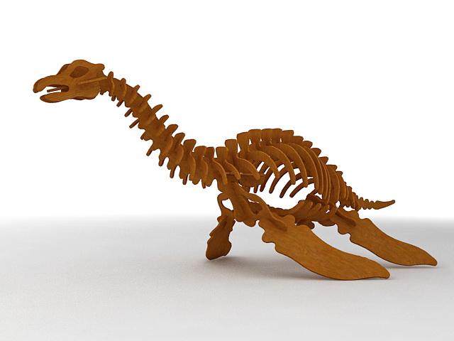 Wooden Toy Dinosaur 3d rendering