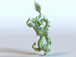 Chinese Dragon Bronze Statue 3d model preview