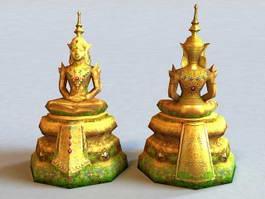Thai Buddha Statue 3d model preview
