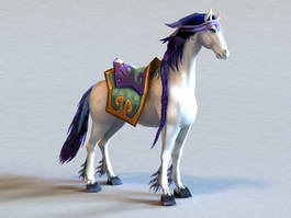 Blue and White Horse 3d model preview