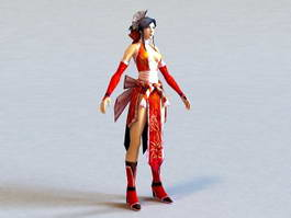Chinese Warrior Girl 3d model preview