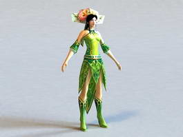 Ancient Chinese Anime Girl 3d model preview