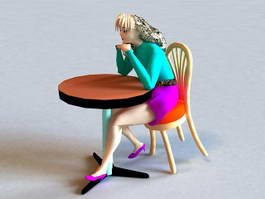 Woman Sitting at Coffee Table 3d model preview