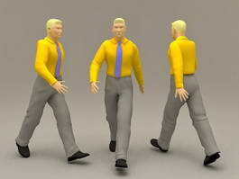 Business Man with Yellow Shirt 3d model preview