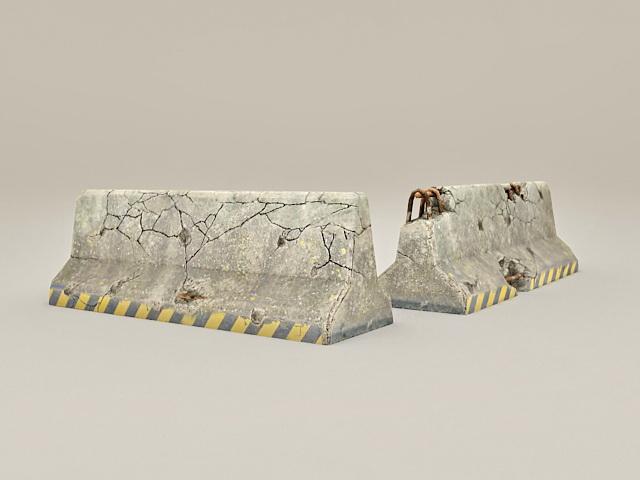 Concrete Roadblock 3d rendering