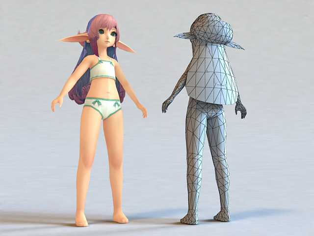 Cute Anime Elf Girl 3d rendering