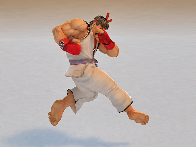 Ryu Street Fighter Animated & Rigged 3d rendering