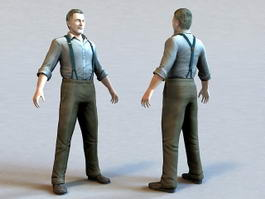 Middle-aged Male Character 3d model preview