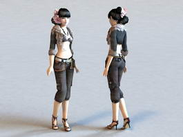 Beautiful Chinese Girl 3d model preview