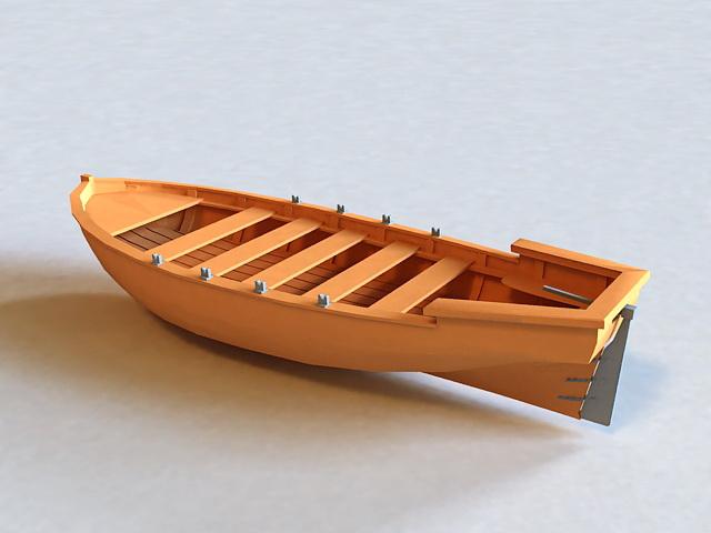 Wooden Boat 3d rendering