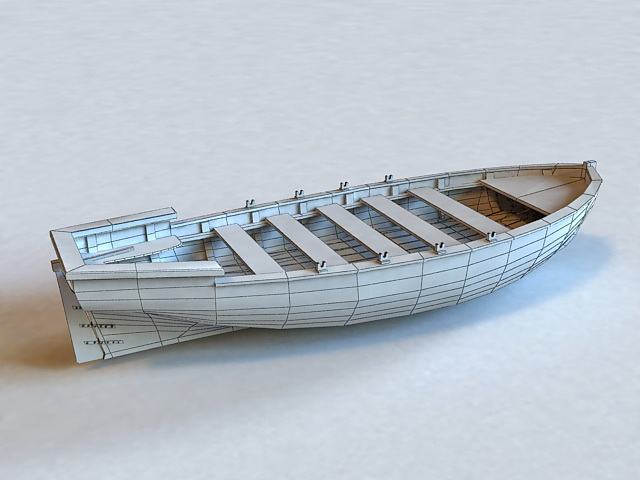 Wooden Boat 3d model 3ds Max files free download ...
