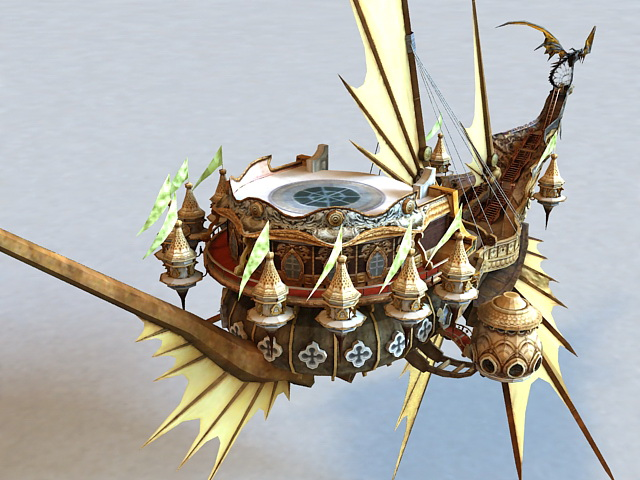 Steampunk Dragon Airship 3d rendering