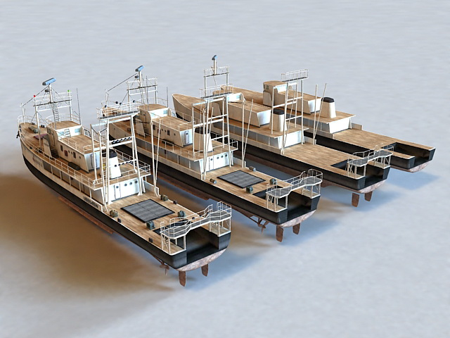 Fishing vessel 3d rendering