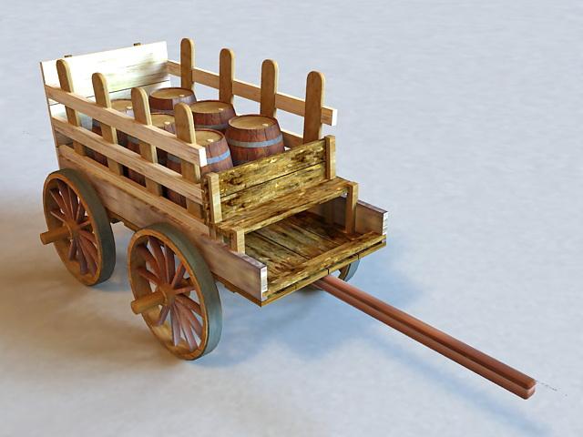 Old Wooden Barrel Cart 3d rendering