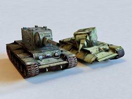 Destroyed KV-2 Tank 3d model preview