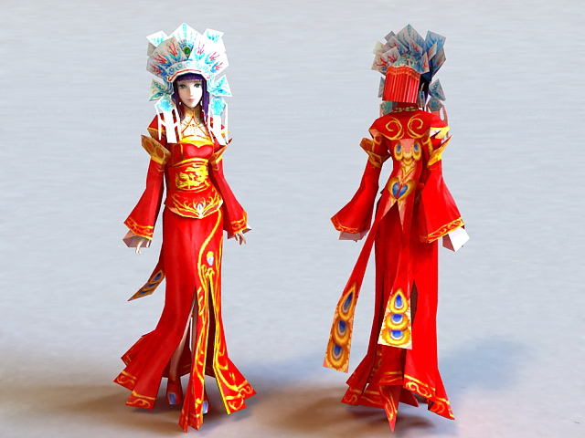 Traditional Chinese Bride 3d rendering