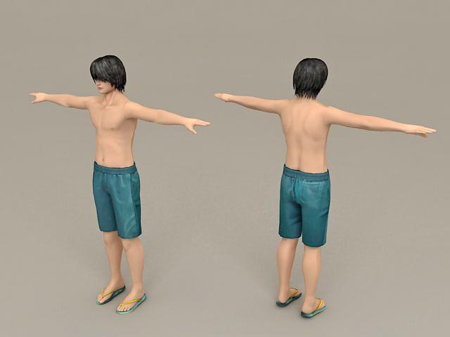 Beach Guy Rigged 3d rendering