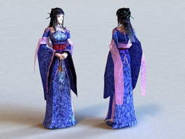 Traditional Japanese Girl 3d model preview