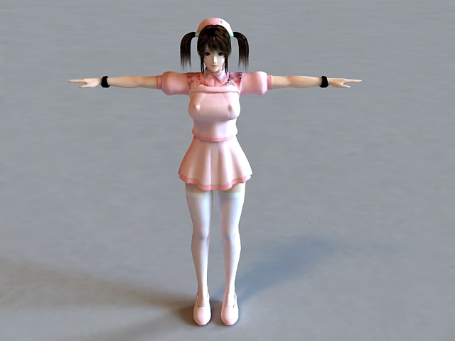 Anime Nurse Character 3d model 3ds Max,Collada files free