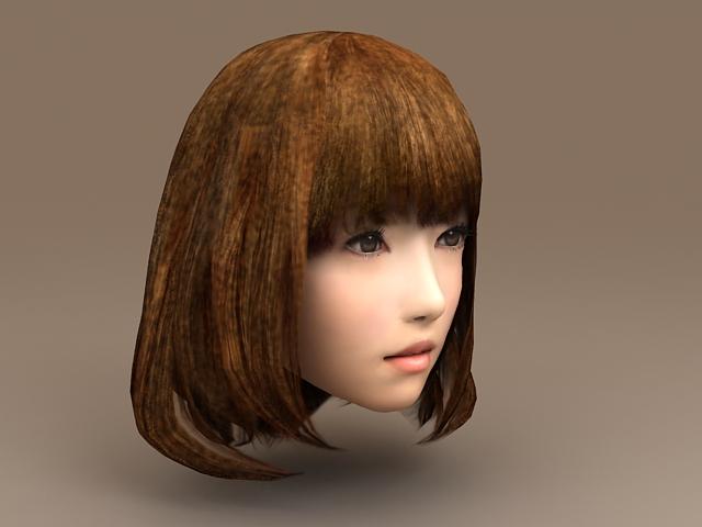 Asian Girl Head 3d rendering