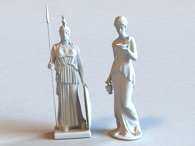 Athena Statue 3d rendering