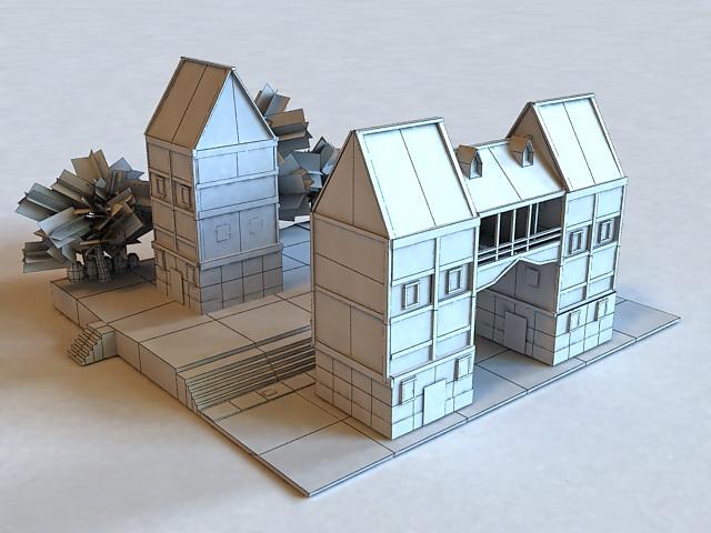 Medieval Town Buildings 3d rendering