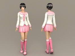 Cute Schoolgirl 3d preview
