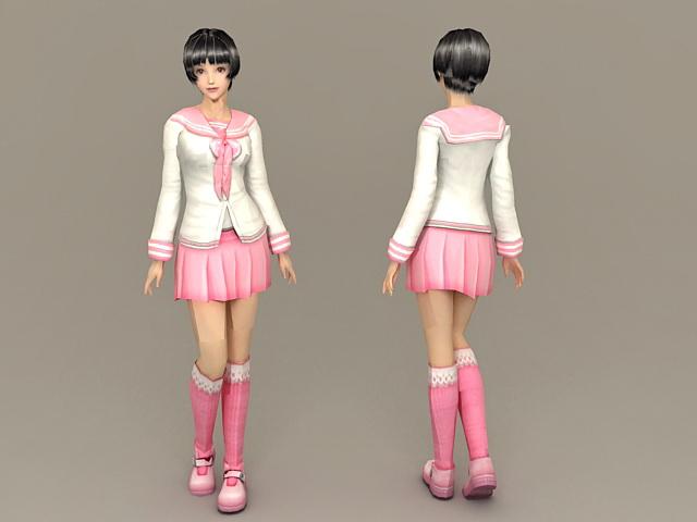 Cute Schoolgirl 3d rendering