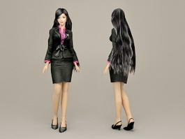 Fashion Office Girl 3d model preview