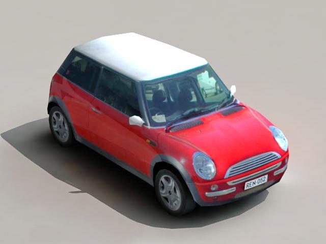 Low Poly Mini Cooper 3d rendering