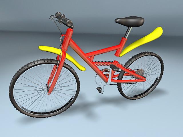 Red & Yellow Mountain Bike 3d rendering