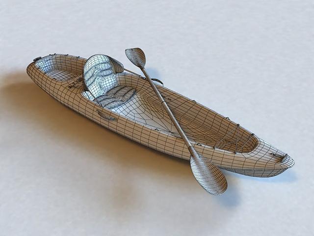 Fishing Kayak 3d rendering