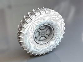 Off-road Tire Wheel 3d model preview