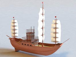 Ancient Sailboat 3d preview