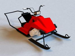 Red Snowmobile 3d preview
