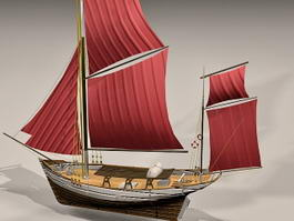 Thonier de Concarneau France Sailingboat 3d preview