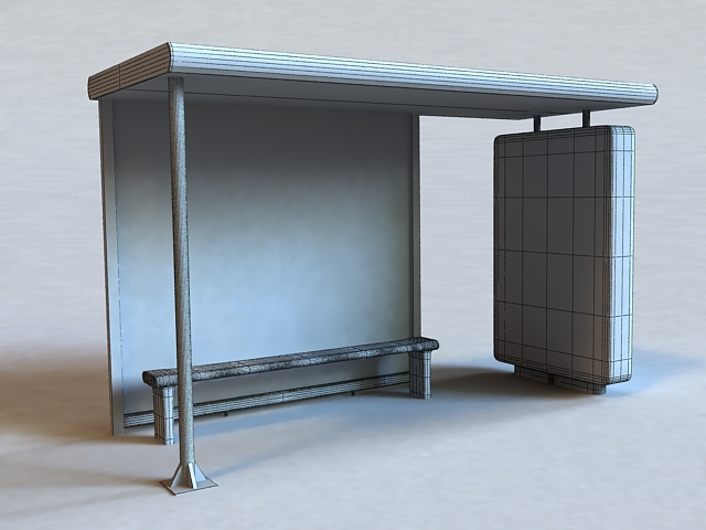 Bus Stop Shelter 3d rendering
