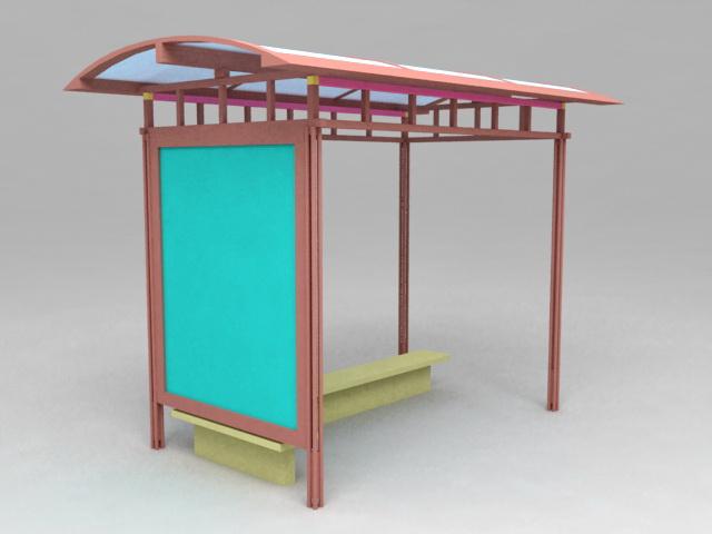Bus Stop Shelter 3d rendering