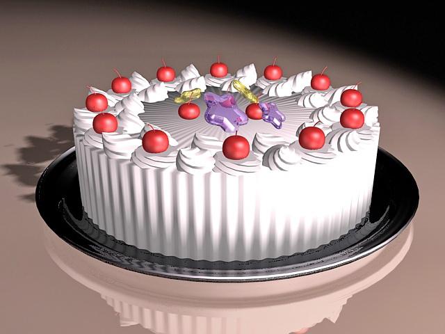 Fresh Fruit Cake 3d rendering