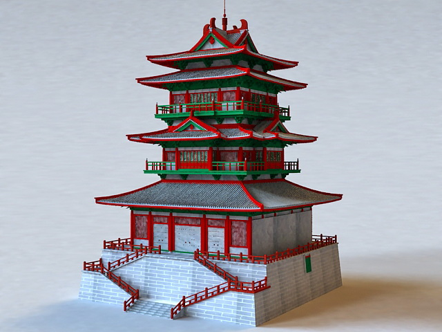 Chinese Pagoda Architecture 3d rendering