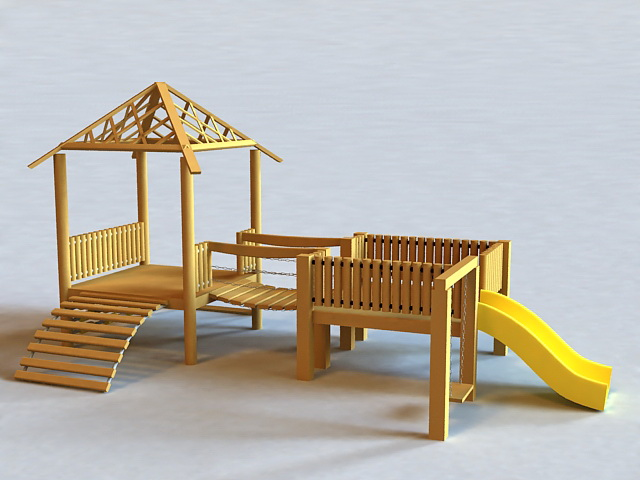 Backyard Playground Sets 3d rendering