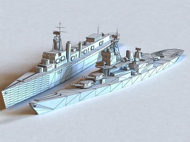 Naval Warship 3d rendering