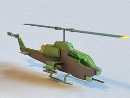 Apache Attack Helicopter 3d model preview