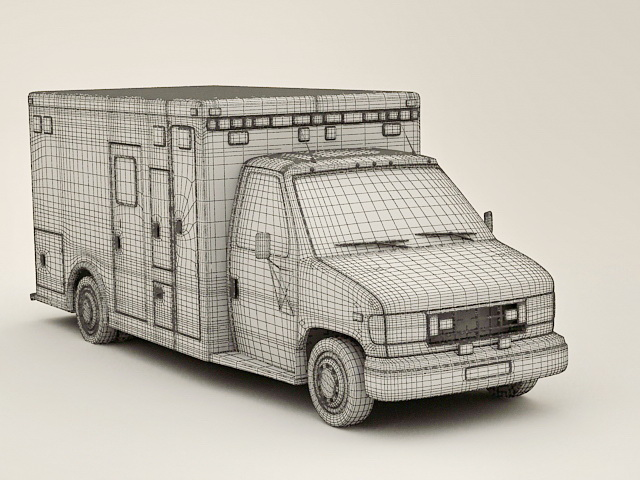 Hospital Ambulance 3d rendering