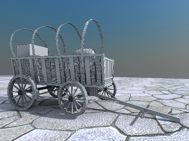 Ancient Wooden Carriage with Barrels 3d rendering
