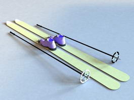 Skis with Poles 3d preview
