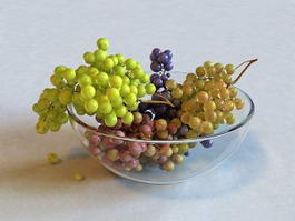 Grapes in Bowl 3d preview
